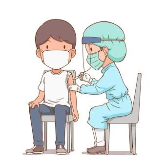 Ilustração dos desenhos animados da enfermeira aplicando uma injeção em um homem