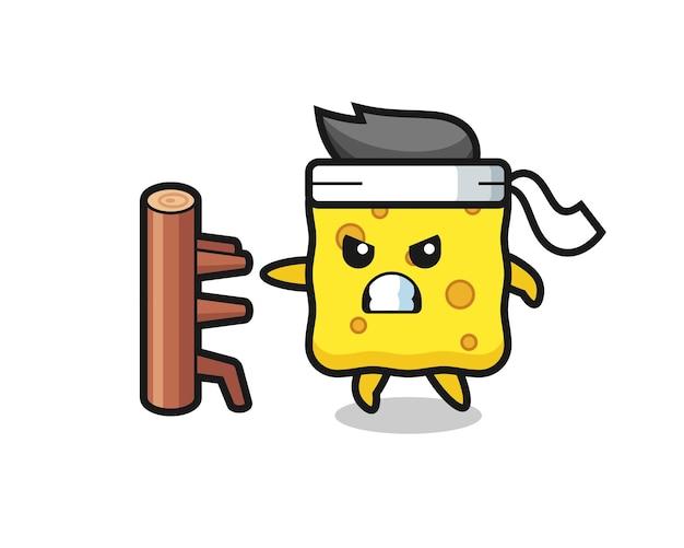 Ilustração dos desenhos animados da esponja como um lutador de caratê, design de estilo fofo para camiseta, adesivo, elemento de logotipo