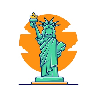 Ilustração dos desenhos animados da estátua da liberdade.