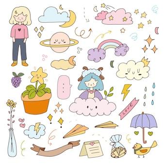 Ilustração dos desenhos animados da etiqueta da menina bonito doodle emblemas. conjunto de coleta de planejador de ícone de mão desenhada.