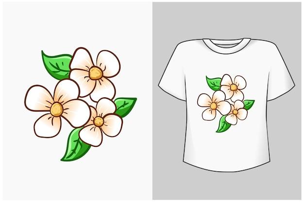 Ilustração dos desenhos animados da flor de cerejeira branca