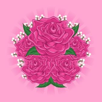 Ilustração dos desenhos animados da flor rosa