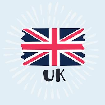 Ilustração dos desenhos animados da ilustração da bandeira do reino unido