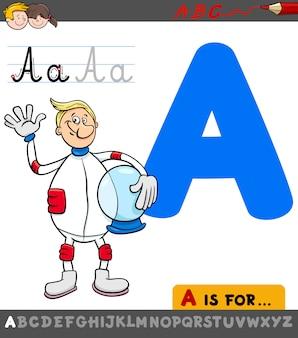 Ilustração dos desenhos animados da letra a com astronauta