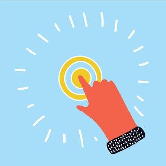 Ilustração dos desenhos animados da mão tocando a ponta do dedo na tela virtual