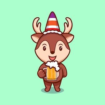 Ilustração dos desenhos animados da mascote da mascote da rena bonito.