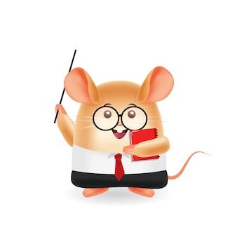 Ilustração dos desenhos animados da mascote. professor de mouse e livro de exploração. fundo isolado