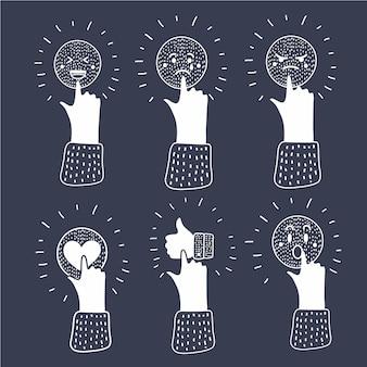 Ilustração dos desenhos animados da mídia social do conceito de comunicação. ícone de pressão de mão humana. enfrentar com emoções. humor. polegar para cima, coração, triste, zangado, rindo, rostos chorando conceito moderno preto e branco