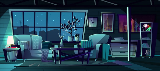 Ilustração dos desenhos animados da moderna sala de estar à noite.