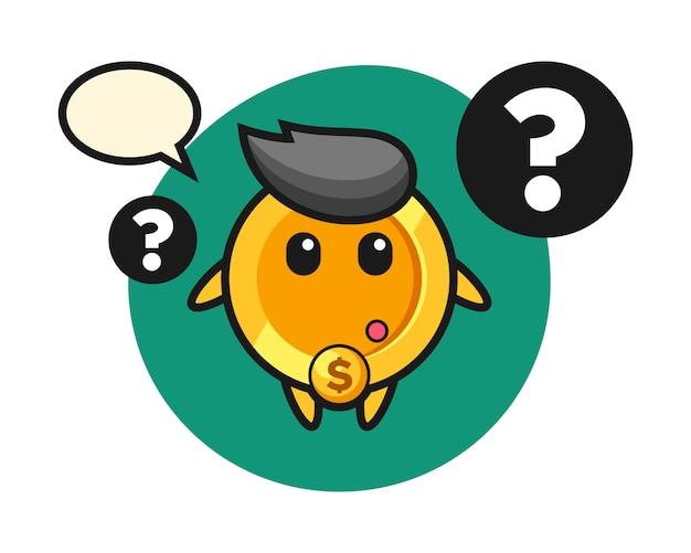 Ilustração dos desenhos animados da moeda de um dólar com o ponto de interrogação