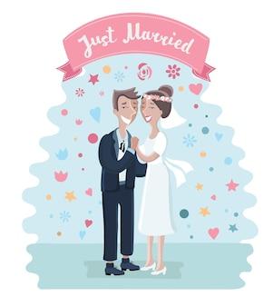 Ilustração dos desenhos animados da noiva e do noivo