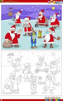 Ilustração dos desenhos animados da página do livro para colorir do grupo de personagens de natal do papai noel