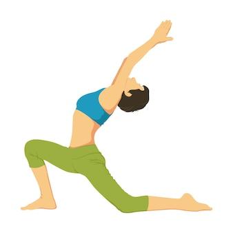Ilustração dos desenhos animados da pose da ioga