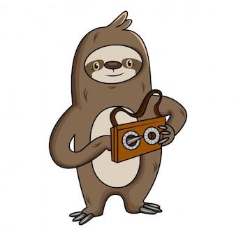 Ilustração dos desenhos animados da preguiça com cassete do gravador de cassetes áudio.