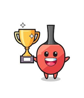 Ilustração dos desenhos animados da raquete de tênis de mesa está feliz segurando o troféu dourado, design de estilo fofo para camiseta, adesivo, elemento de logotipo
