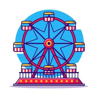 Ilustração dos desenhos animados da roda gigante do parque de diversões