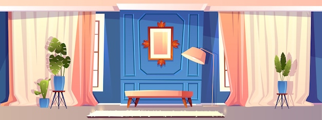 Ilustração dos desenhos animados da sala de estar de luxo