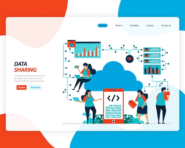 Ilustração dos desenhos animados da tecnologia de compartilhamento de dados, trabalhador remoto, indústria de rede, pessoas enviando arquivo de trabalho. a melhoria na nuvem para upload é eficaz.