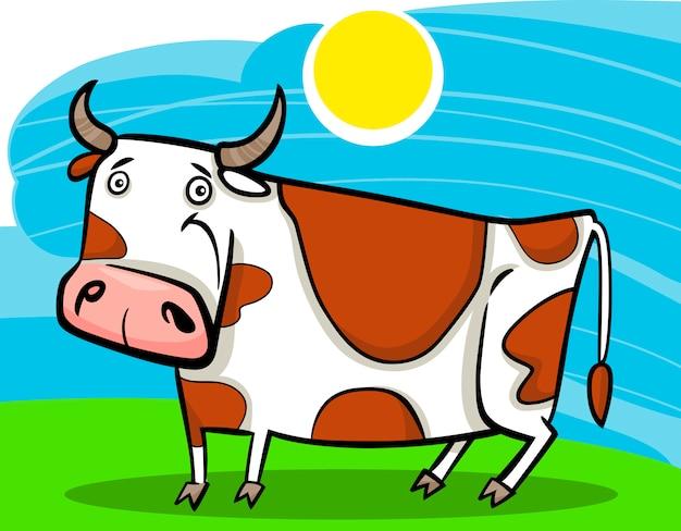 Ilustração dos desenhos animados da vaca da fazenda