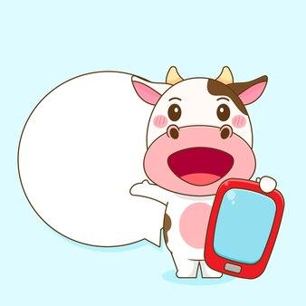 Ilustração dos desenhos animados da vaca fofa com telefone e balão de fala