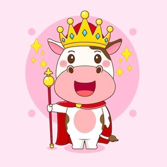 Ilustração dos desenhos animados da vaca fofa como um personagem rei