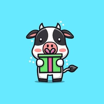 Ilustração dos desenhos animados da vaca fofa e feliz recebendo um presente