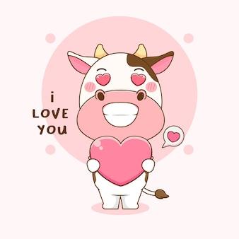 Ilustração dos desenhos animados da vaca fofa segurando o amor