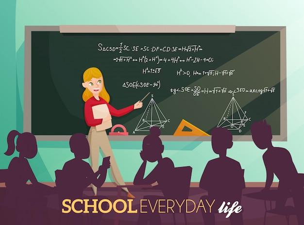 Ilustração dos desenhos animados da vida cotidiana escolar