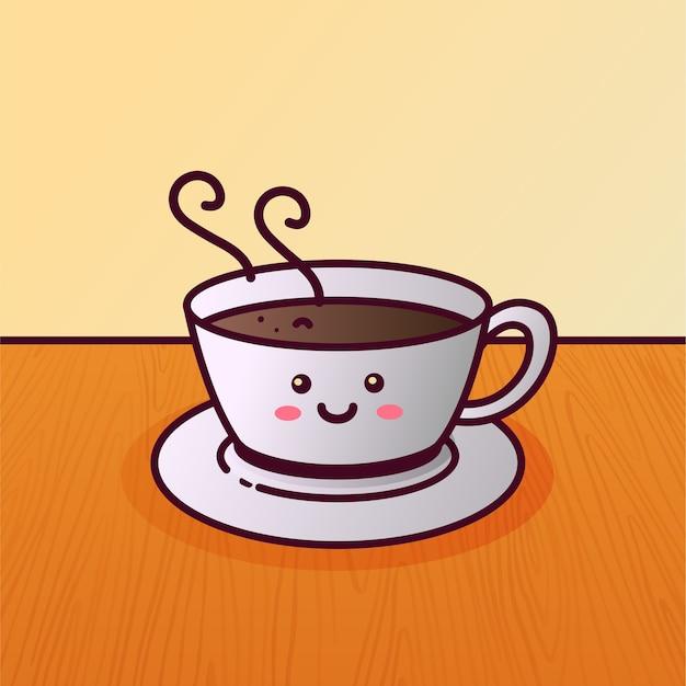Ilustração dos desenhos animados da xícara de café