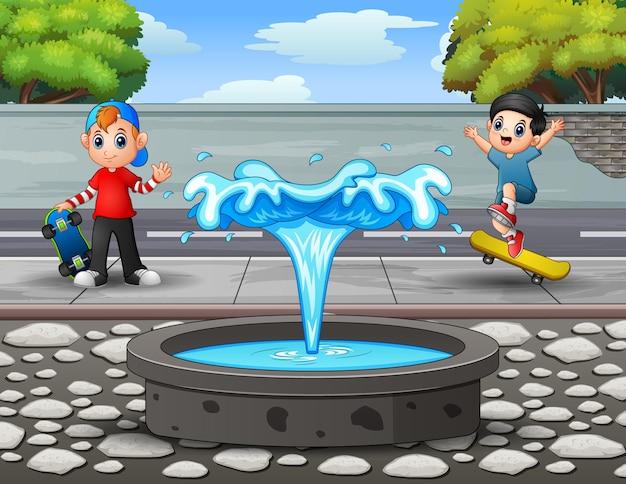 Ilustração dos desenhos animados das crianças brincando no parque