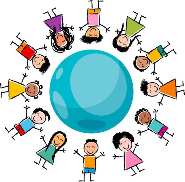 Ilustração dos desenhos animados das crianças e do globo