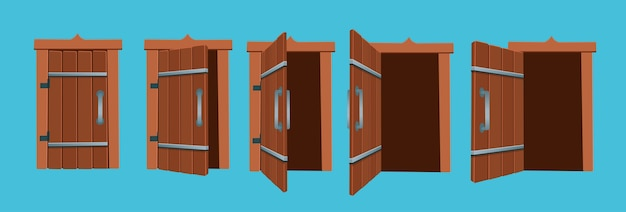 Ilustração dos desenhos animados das portas abertas e fechadas.