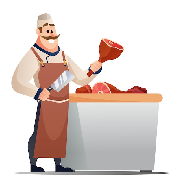 Ilustração dos desenhos animados de açougueiro com faca e carne