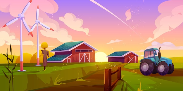 Ilustração dos desenhos animados de agricultura inteligente e ecológica