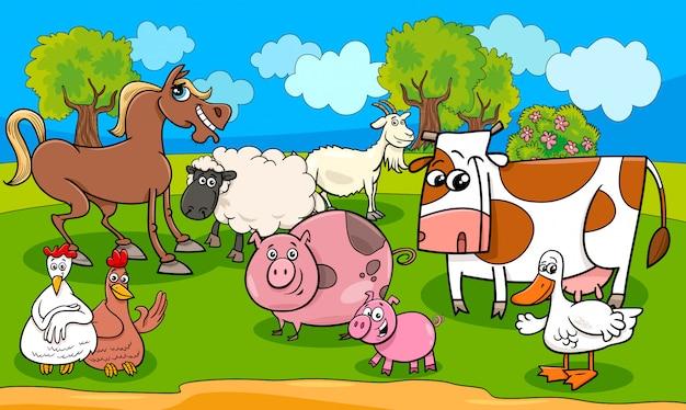 Ilustração dos desenhos animados de animais de fazenda