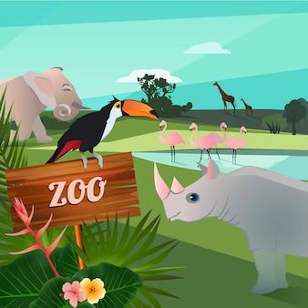 Ilustração dos desenhos animados de animais selvagens no zoológico
