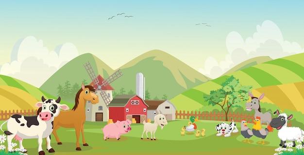 Ilustração dos desenhos animados de animal fazenda feliz