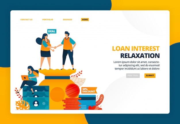 Ilustração dos desenhos animados de apertar as mãos no acordo de suspensão de pagamento em crise. relaxamento do empréstimo e cortes nos juros das parcelas