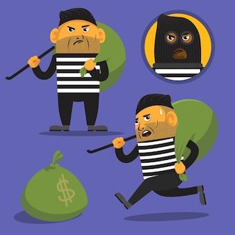 Ilustração dos desenhos animados de assaltante