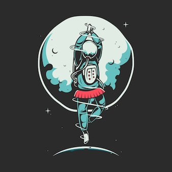 Ilustração dos desenhos animados de astronauta dançando balé
