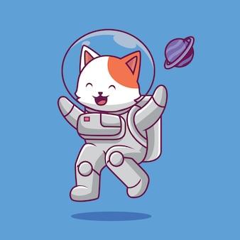 Ilustração dos desenhos animados de astronauta voador de gato fofo