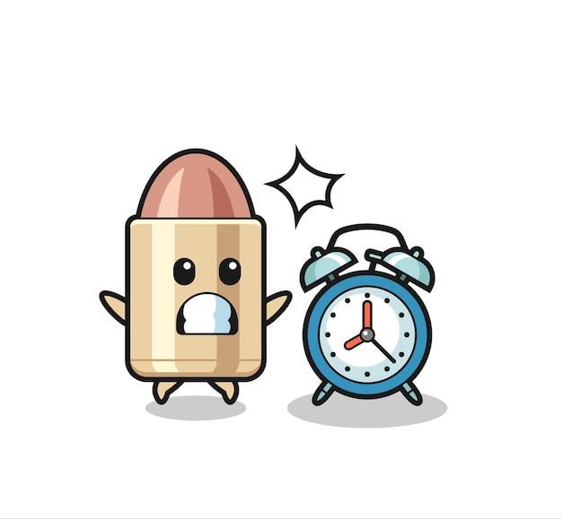 Ilustração dos desenhos animados de bala é surpreendida com um despertador gigante, design de estilo fofo para camiseta, adesivo, elemento de logotipo