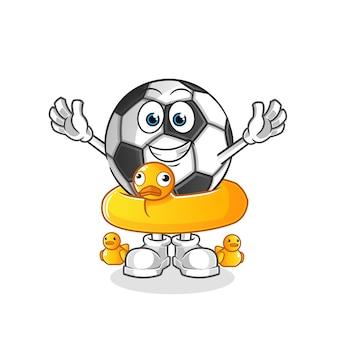 Ilustração dos desenhos animados de bola com boia de pato