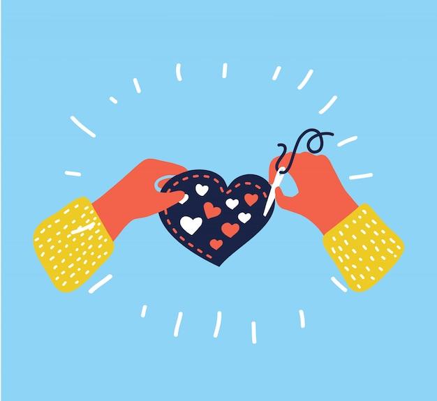 Ilustração dos desenhos animados de bordado. mãos humanas com agulha e linha costuram coisa heartshape. conceito gráfico engraçado colorido em estilo moderno.