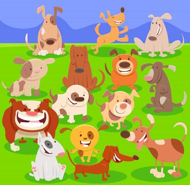 Ilustração dos desenhos animados de cães engraçados e grupo de filhotes