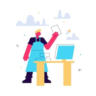 Ilustração dos desenhos animados de caixa atrás do caixa no supermercado, loja, loja. conceito de empresa de pequeno porte em branco.