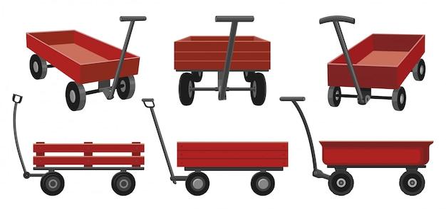 Ilustração dos desenhos animados de carrinho de jardim em branco