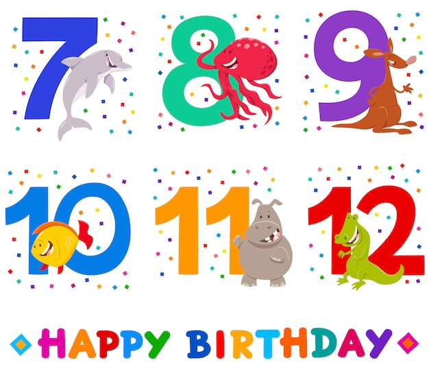 Ilustração dos desenhos animados de cartões de aniversário para crianças
