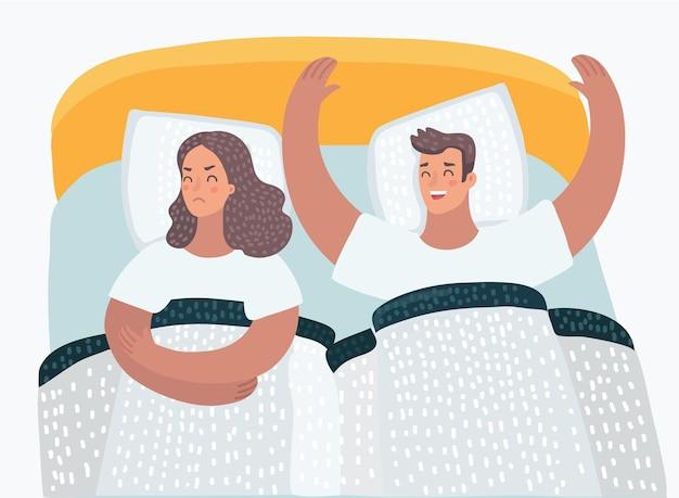 Ilustração dos desenhos animados de casal com problemas na cama