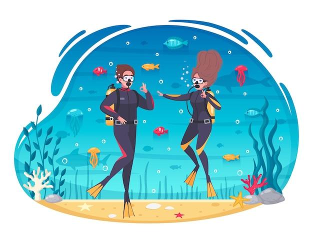 Ilustração dos desenhos animados de casal de mergulho e snorkeling